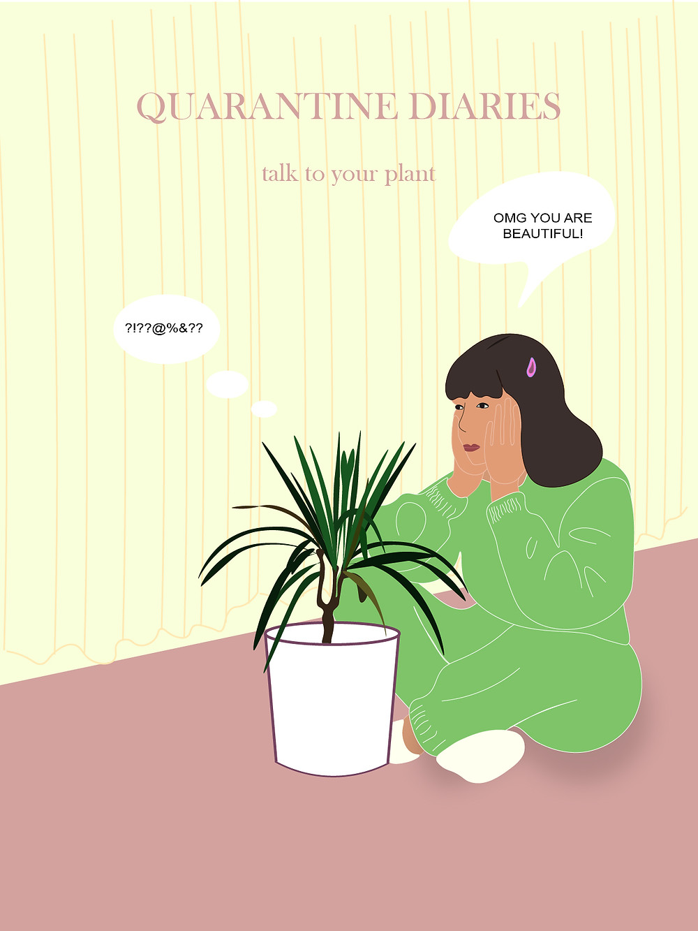 a digital illustration from the Quarantine Diaries schowing a girl talking to a plant