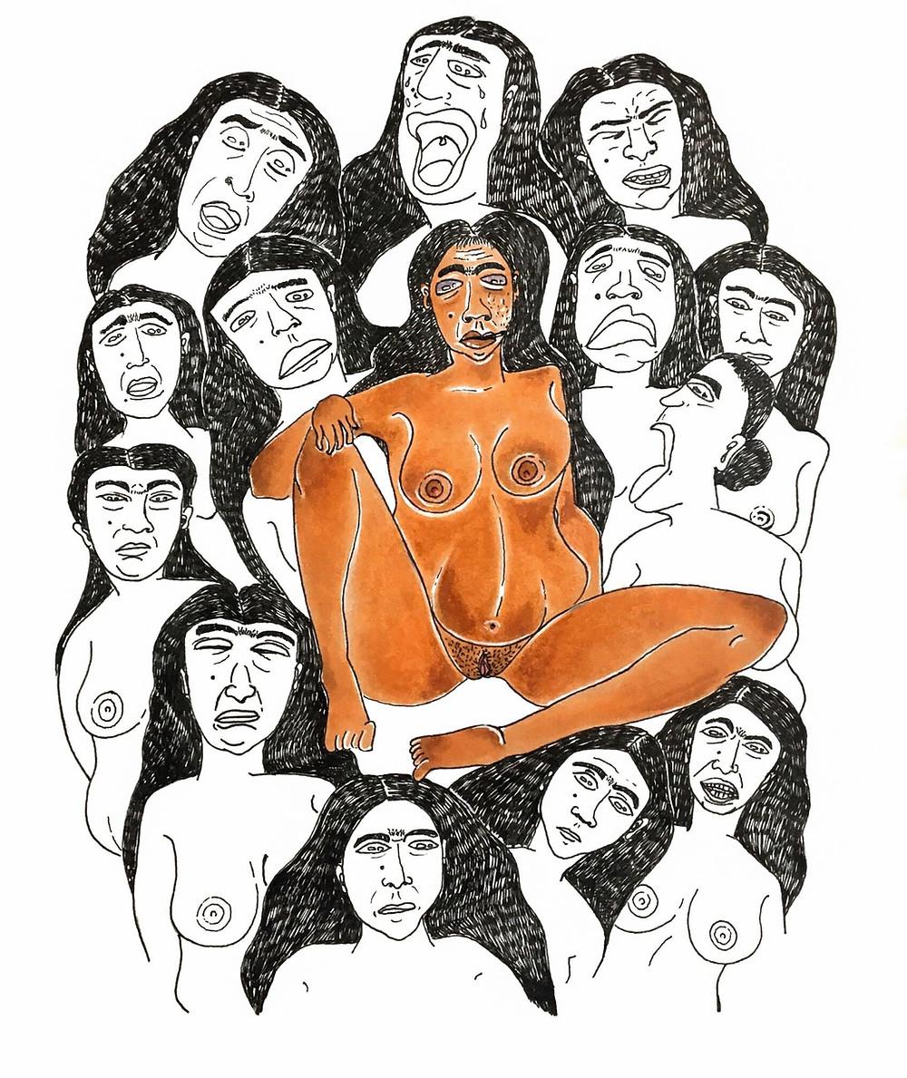 fashion designer and artist Pratiksha Tandon's artwork representing women crying