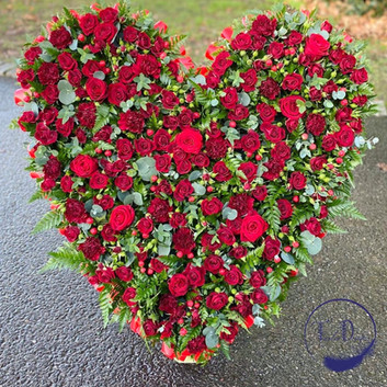 funeral flowers red rose heart tribute c