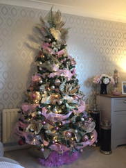 pink and gold tree decor