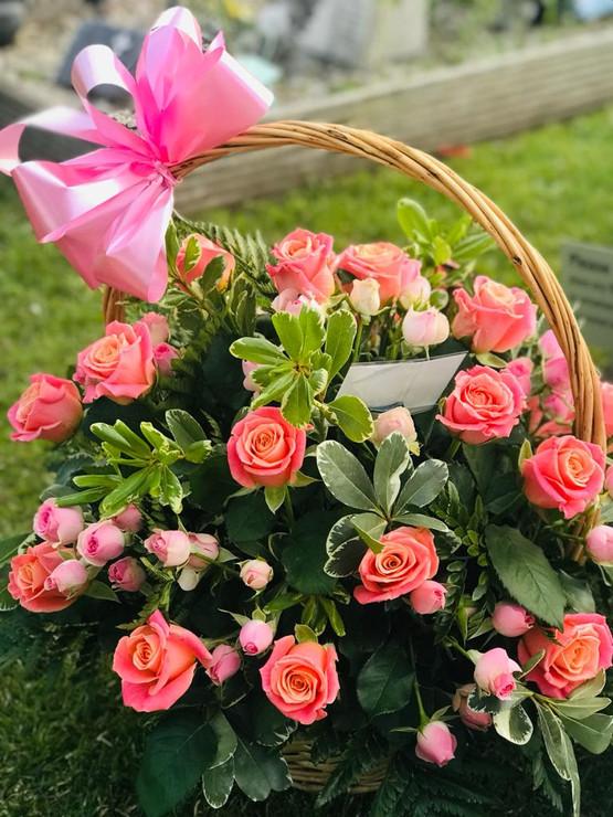 funeral flowers basket pink roses.JPG