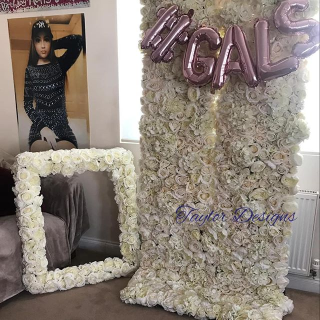 party flower wall and flower frame