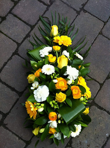 small yellow spray funeral flowers, tribute florist chobham, surrey