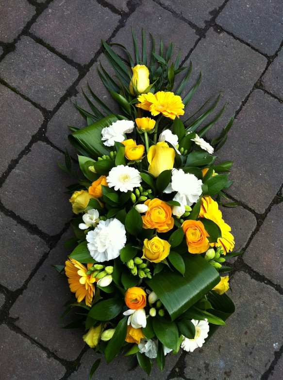 small yellow spray funeral flowers, tribute florist chobham, surrey