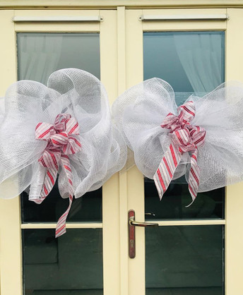 candy stripe door bows