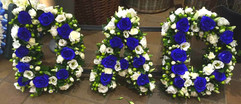 dad funeral tribute blue roses, funeral