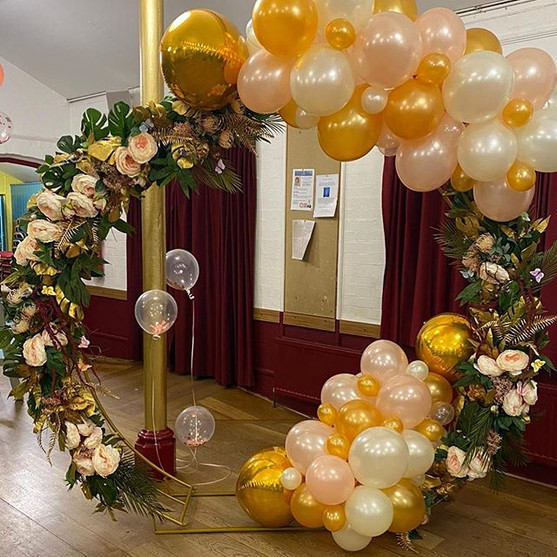 Blush and gold theme on our designer hoo