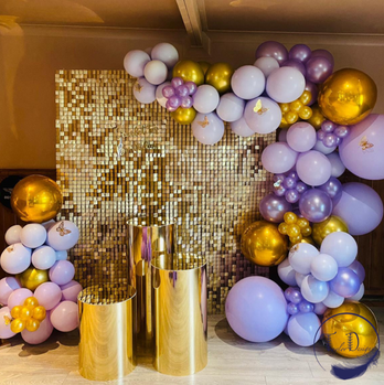 sequin wall and balloon arch birthday se