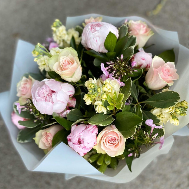 Roses, stocks and peonies a scented sens