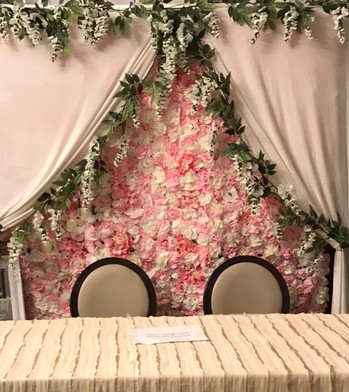 Flower wall and drape