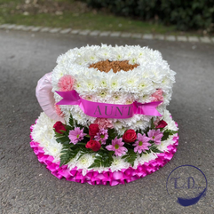 Cup funeral tribute Chobham Surrey flori