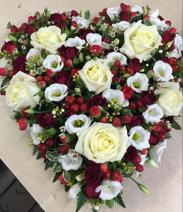 Red and white heart. funeral flowers chobham woking surrey,