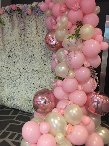 Pink and pearl half arch