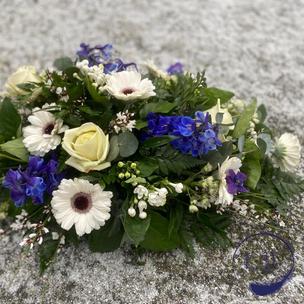 funeral spray white blue, chobham surrey