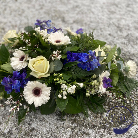 funeral spray white blue, chobham surrey