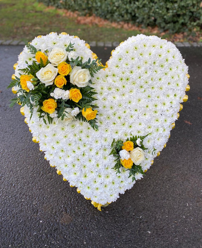 funeral flowers white yellow heart, chob