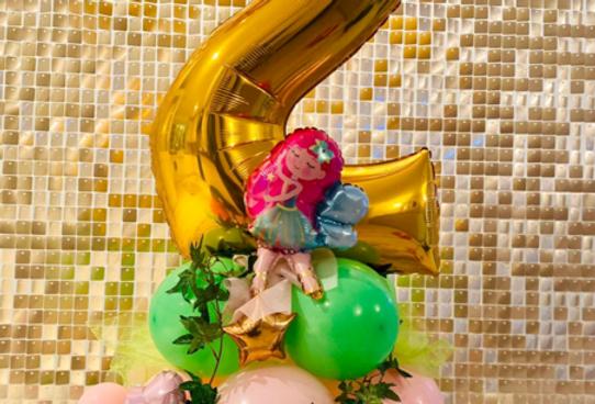 Fairy themed number balloon column