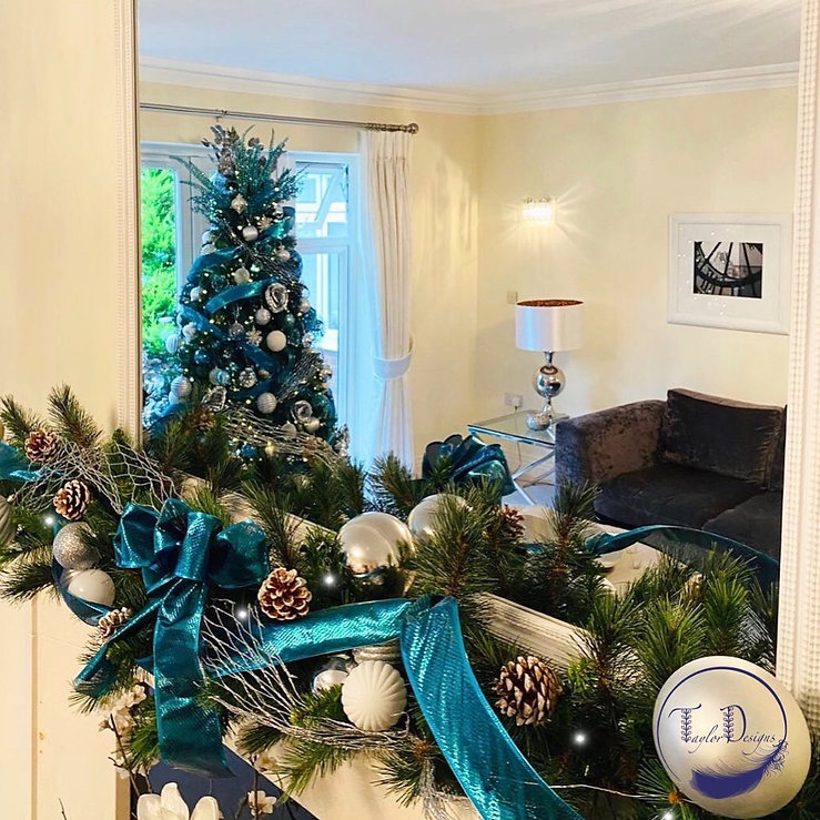 Teal and silver garland and tree