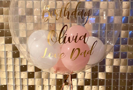 personalised filled orb balloon
