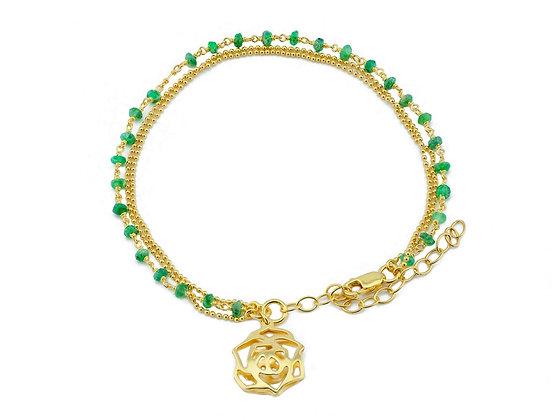 Green Jade Golden Rose Bracelet