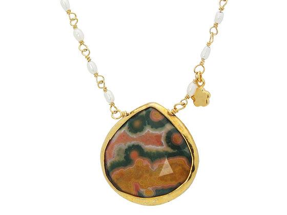 Mini Pearls & Agate Stone Necklace