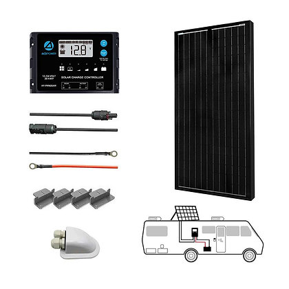 ACOPOWER 100W 12V  Mono Solar RV Kits, 20A PWM Charge Controller