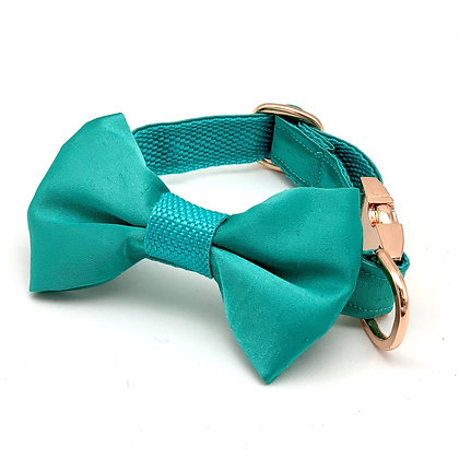 Turquoise Silk Dog Collar & Bow Tie