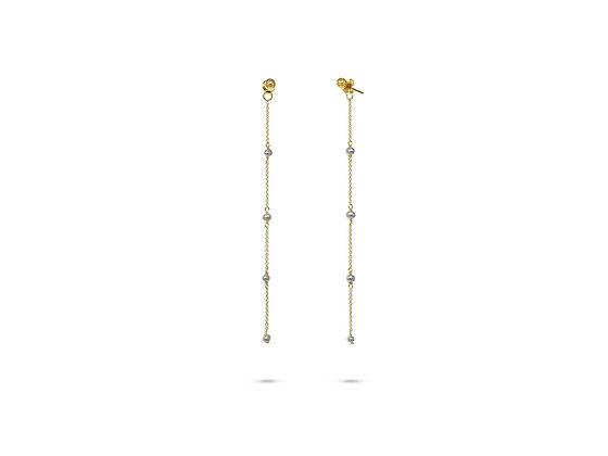 Golden Ball & Pearl Strand Earrings