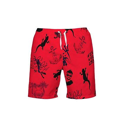 Men's FYC Red Parade Beach Shorts UPF 40+ W/Lining