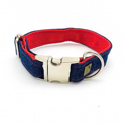 Frayed Denim & Red Collar With Bronze Studs