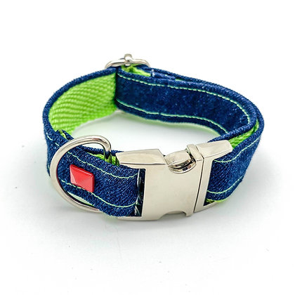 Navy Denim & Neon Dog Collar With Red Studs