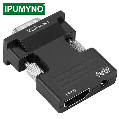 HDMI-VGA Adapter w Aux Jack 3.5 - Video / Audio Cable Converter