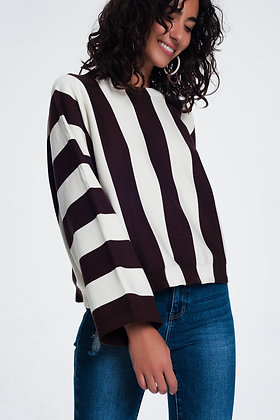 Scoop Neck Sweater in Mono Stripe in Brown