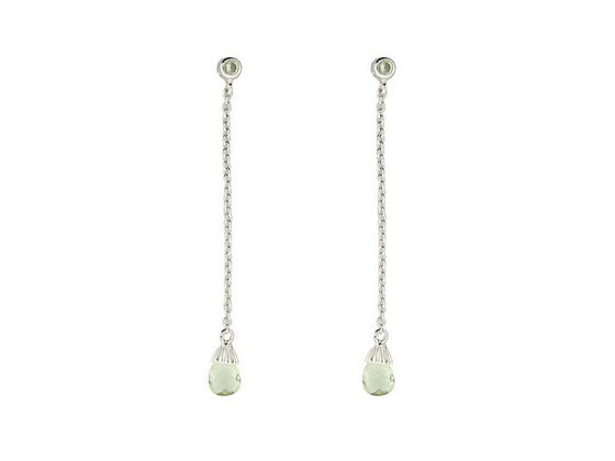 Fronay Collection Peridot CZ Briolette Earrings: Sterling Silver