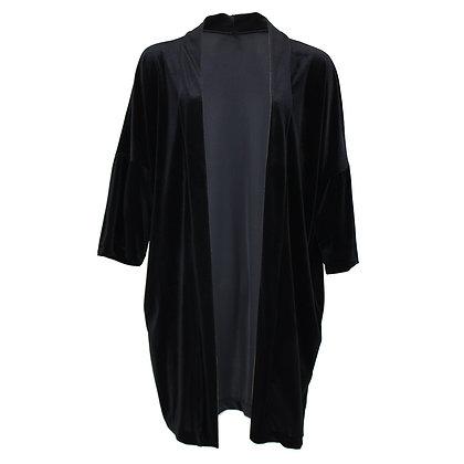 Velvet Kimono Cardigan - Black