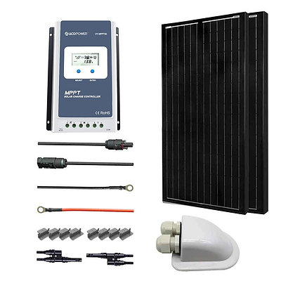 ACOPOWER 12v/24v 200W All Black Mono Solar RV Kits, 30A MPPT Charge Controller