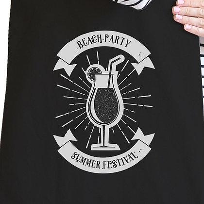 Beach Party Summer Festival Black Canvas Bags