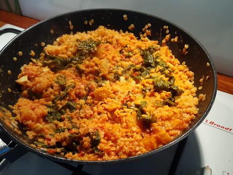Dhal de chou kale, lentilles corail et pomme de terre