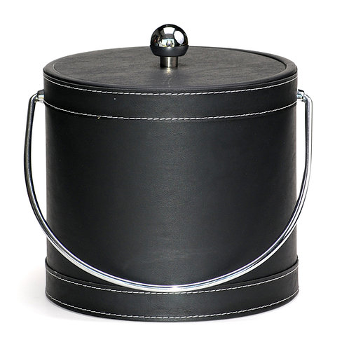 Black Leatherette Stitched 3 QT. Ice Bucket