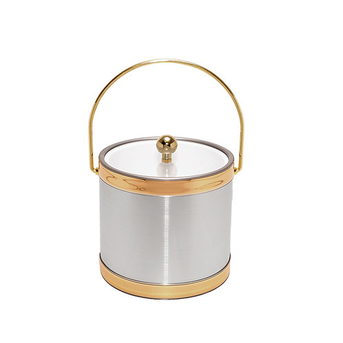 Brushed Silver w Gold Bands 3 qt. Ice Bucket