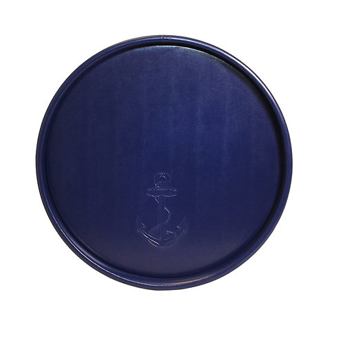 Blue Castilian Debossed Anchor Round Tray