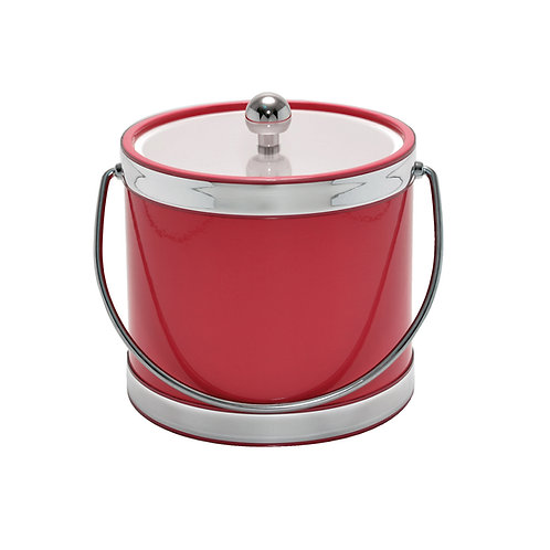 Red with Dual Silver Bands 3 qt. Ice Bucket