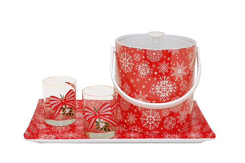 Snow Flake Christmas 6 pc. Beverage Set