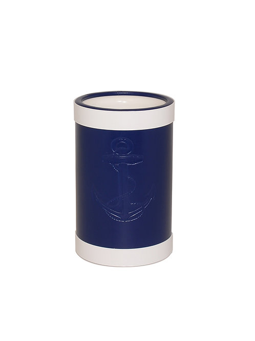 Blue Castilian Debossed Anchor Wine Cooler