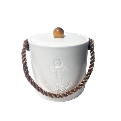 White Castilian Debossed Anchor 3 Qt. Ice Bucket