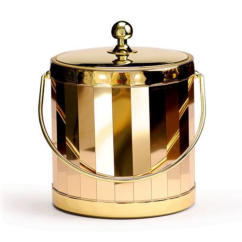 Gold Vertical Shiny w Metal Lid 3 qt. Ice Bucket
