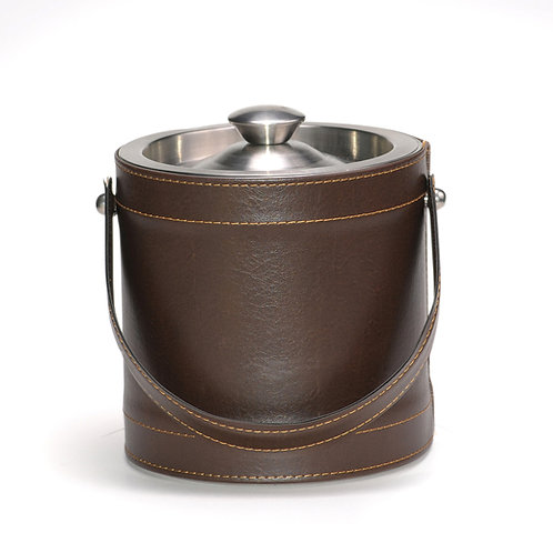 Brown Leatherette Stitched 3 QT. Ice Bucket