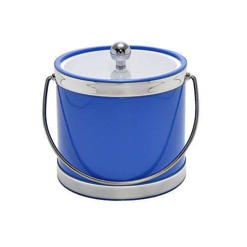 Blue with Dual Silver Bands 3 qt. Ice Bucket