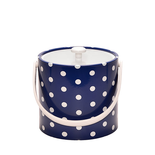 Blue With White Polka Dots 3 qt. Ice Bucket