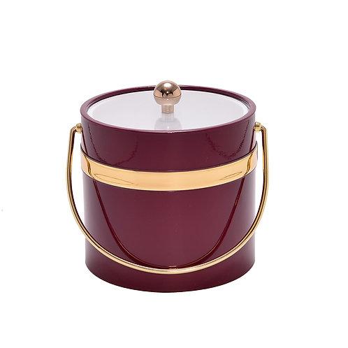 Burgundy Patten Single Gold Band 3 qt. Ice Bucket
